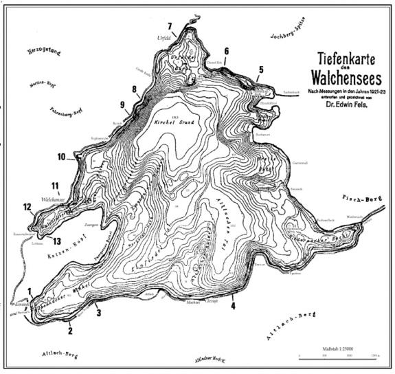 Tiefenkarte Walchensee